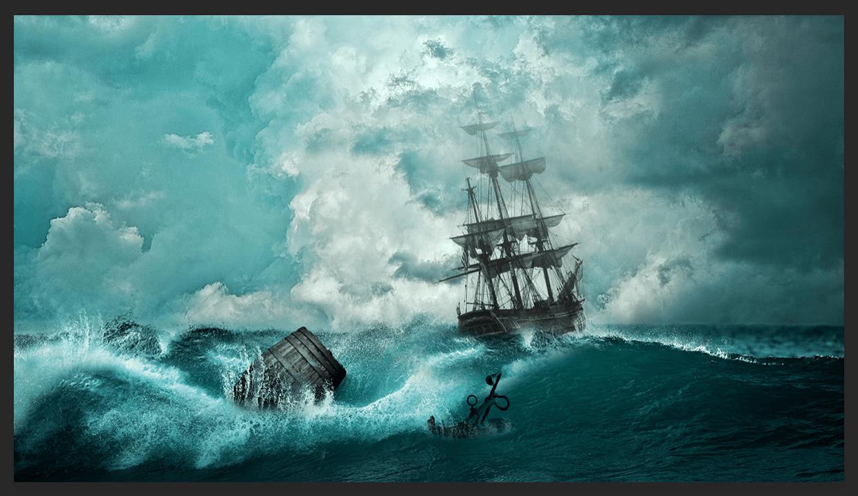 Шторм в море: Фотошоп
