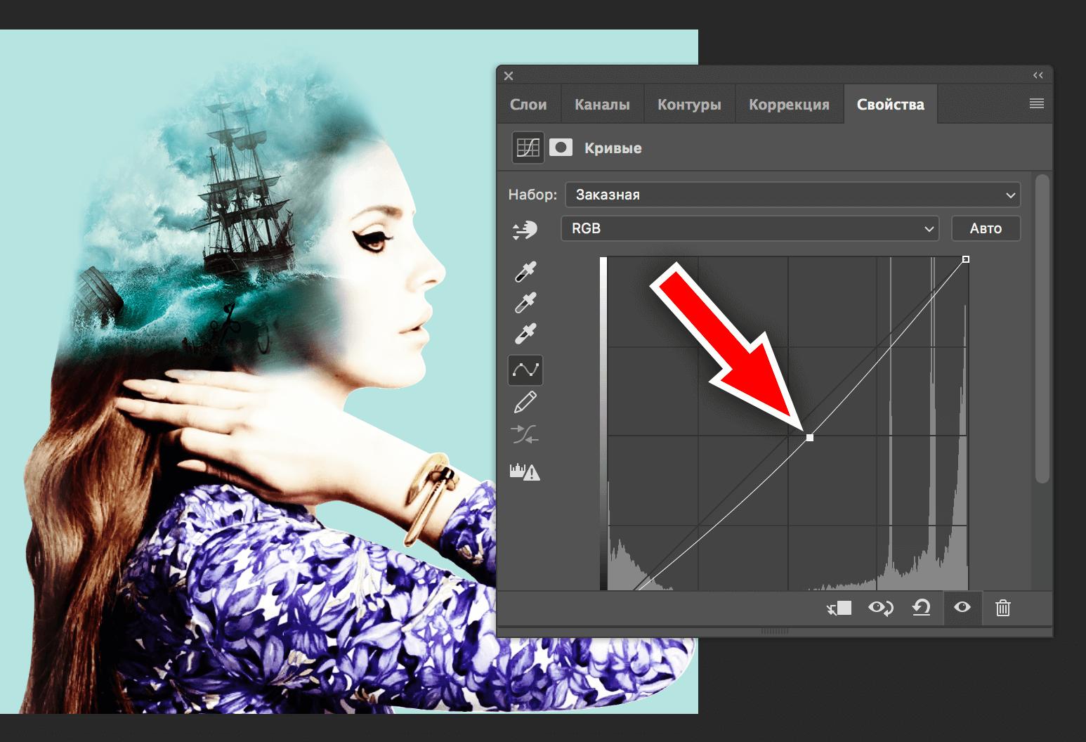 настройка кривых в photoshop