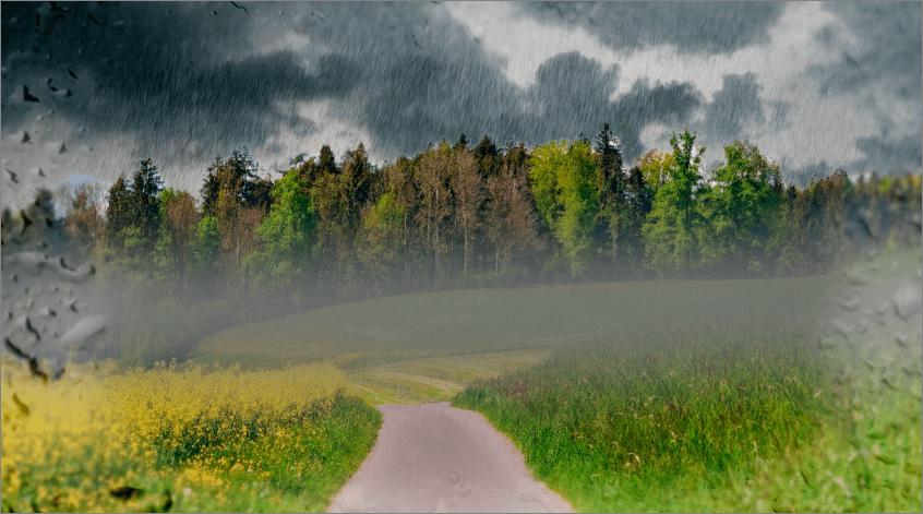 Результат создания эффекта дождя в Фотошопе