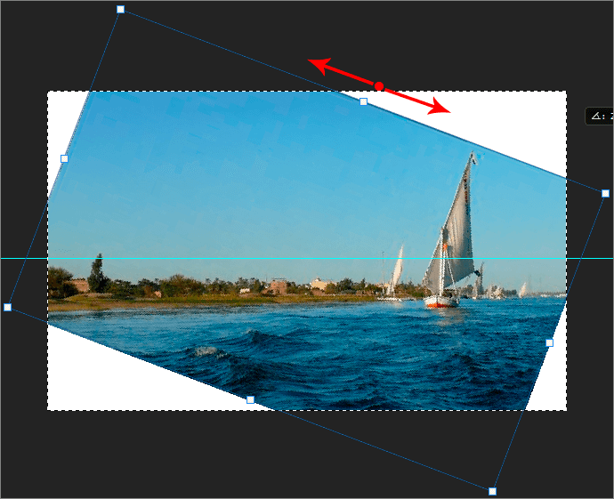 Вращение фотографии в Фотошопе с помощью свободной трансформации