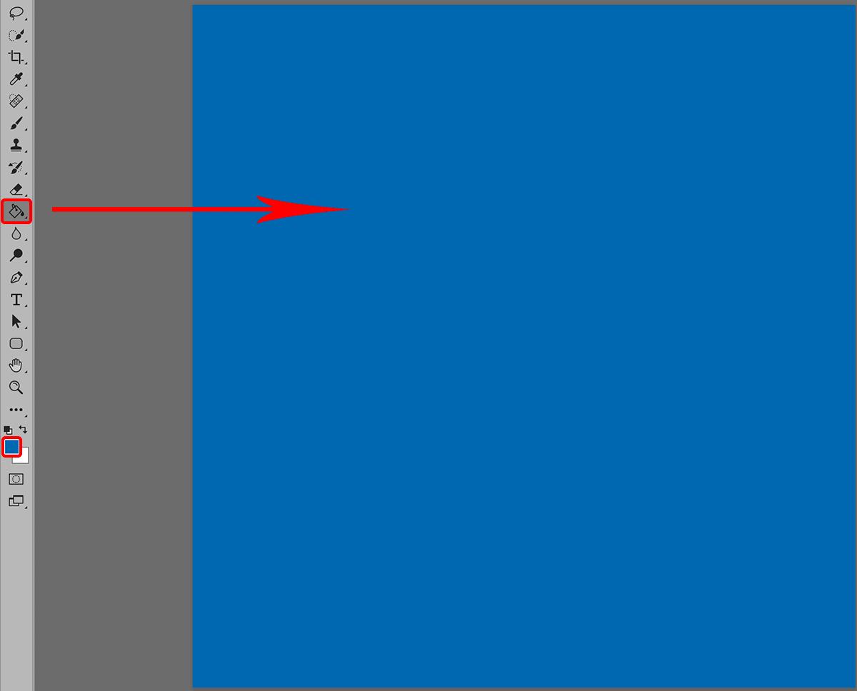 Заливка слоя цветом в Фотошопе