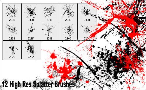 Кисти с брызгами (12 High-Res Splatter Brushes)