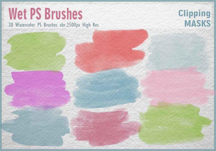 20 кистей с линиями и мазками от акварельных красок для Фотошопа
