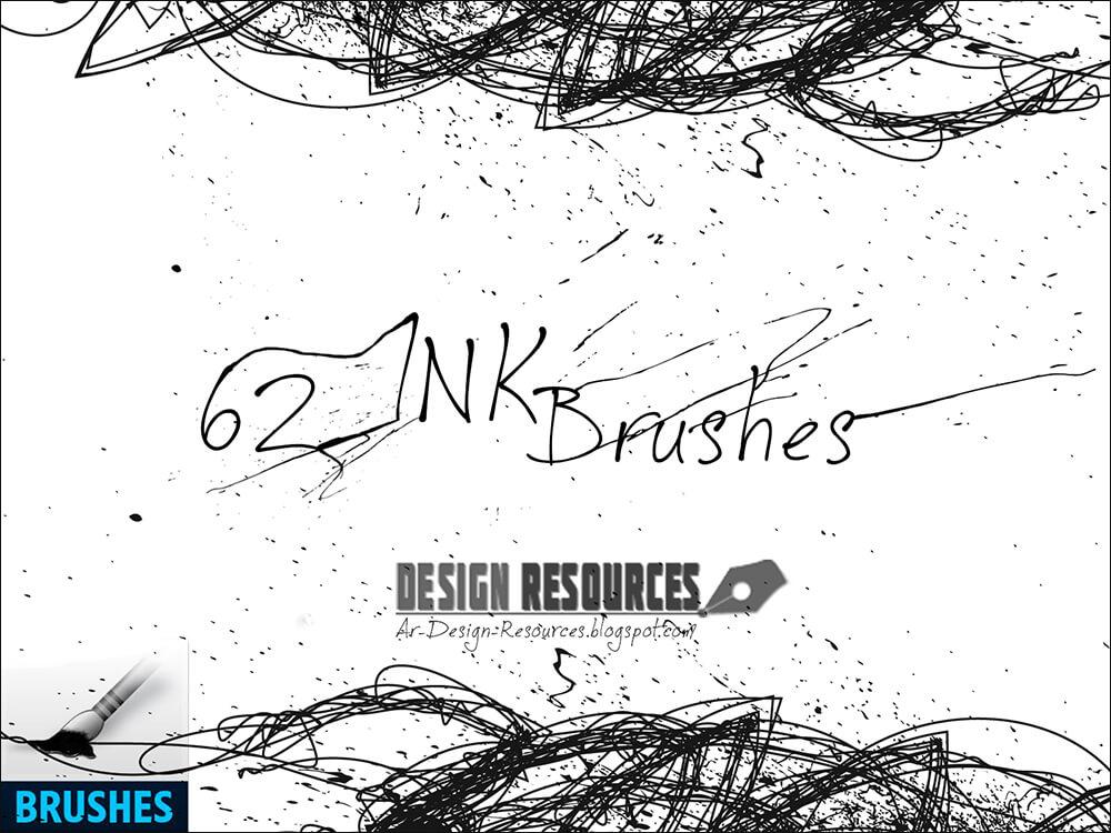 Кисти для рисования мазков и клякс (62 Ink Brushes by Ar-Design Resources)