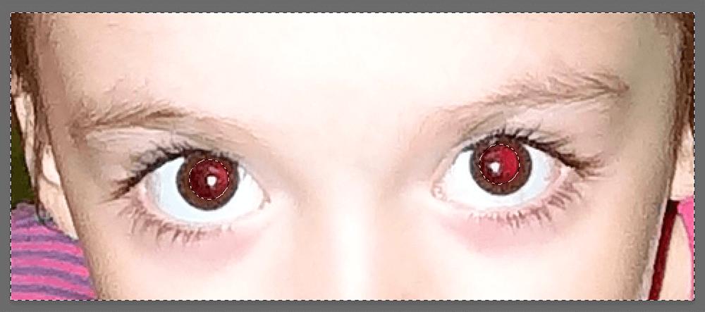 Выделение красных зрачков и холста в Photoshop