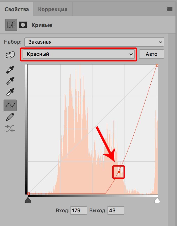 Настройка кривой красного канала в Фотошопе