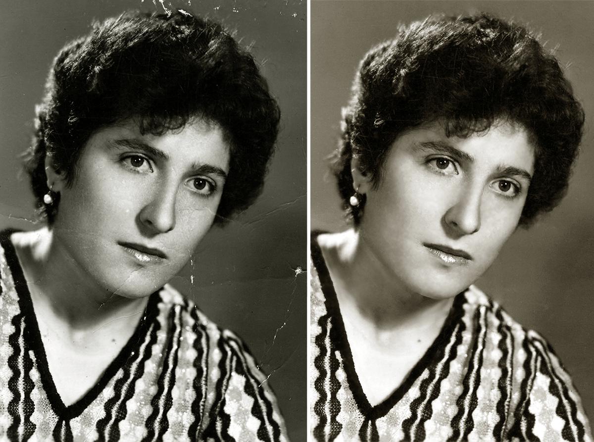 Сравнение исходной фотографии с отреставрированной в Photoshop
