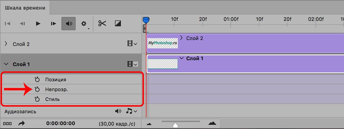 Установка ключа непрозрачности на шкале времени в Photoshop