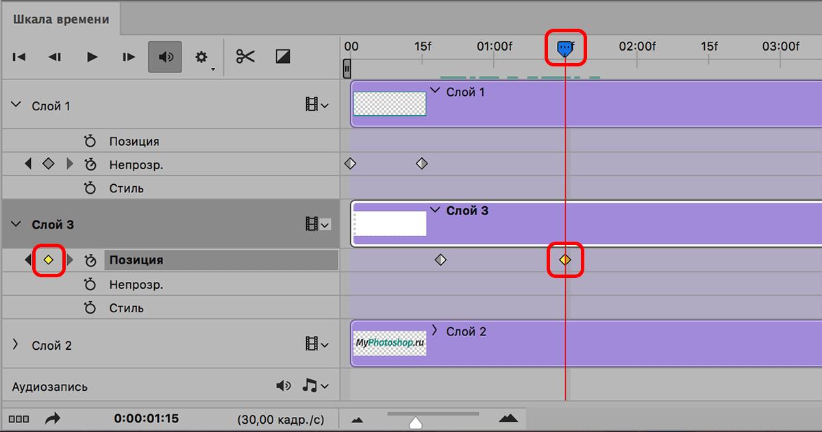 Установка финального ключа позиции на шкале времени в Photoshop