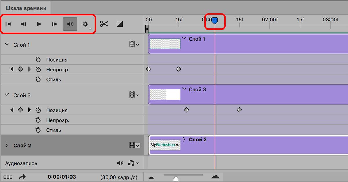 Проверка анимации на шкале времении в Photoshop
