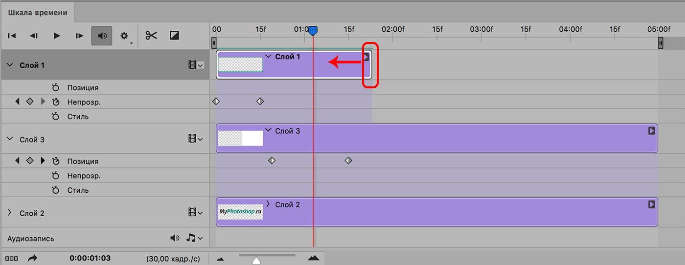 Изменение длины дорожки на шкале времени в Фотошопе