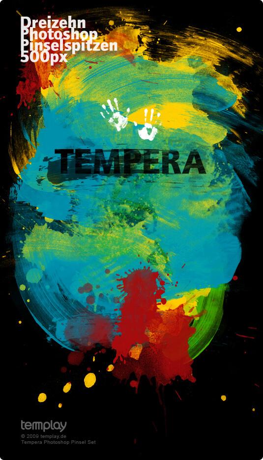 Кисти с брызгами и кляксами (Tempera Brush Set)