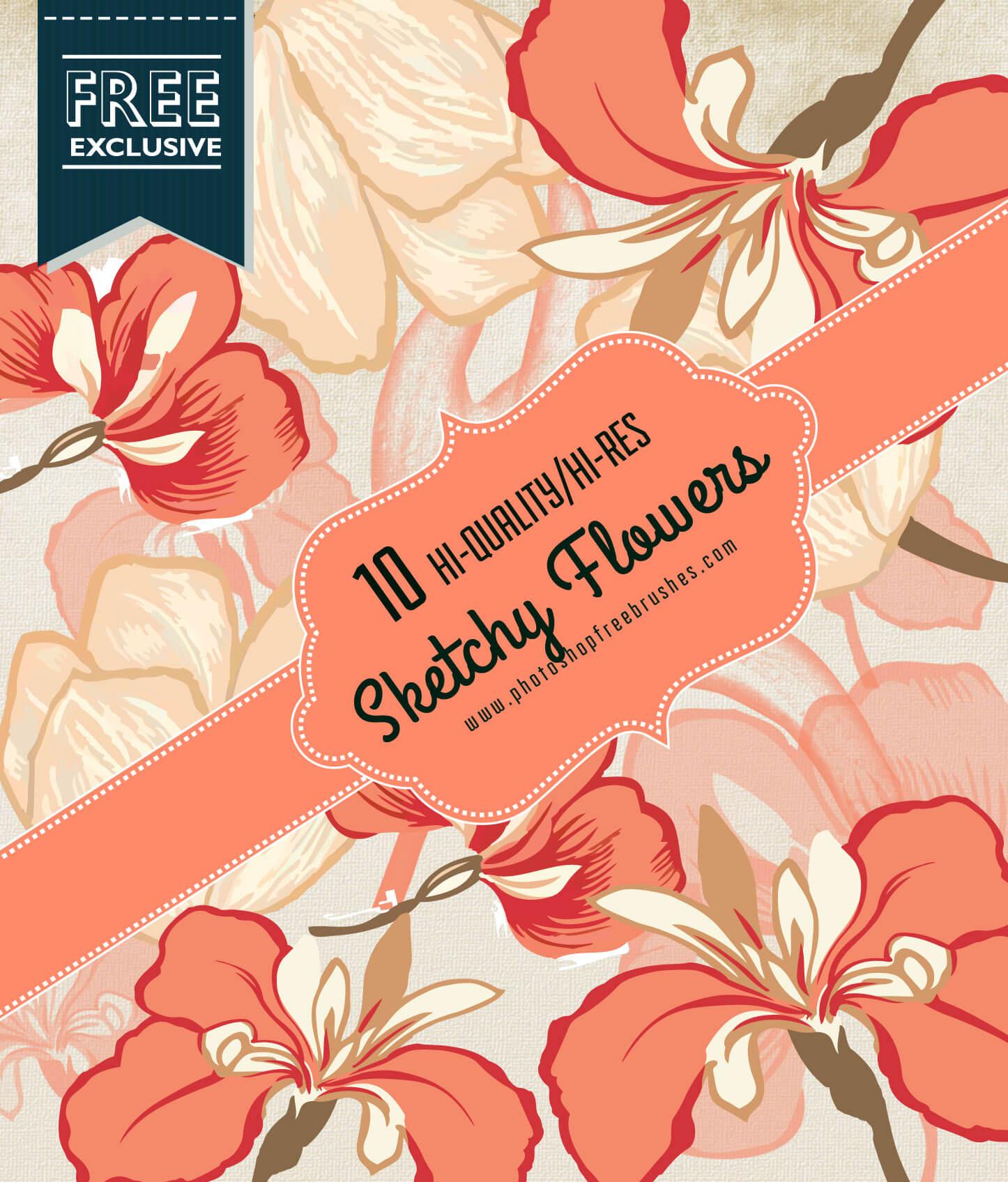 Кисти с эскизами цветов для Фотошопа