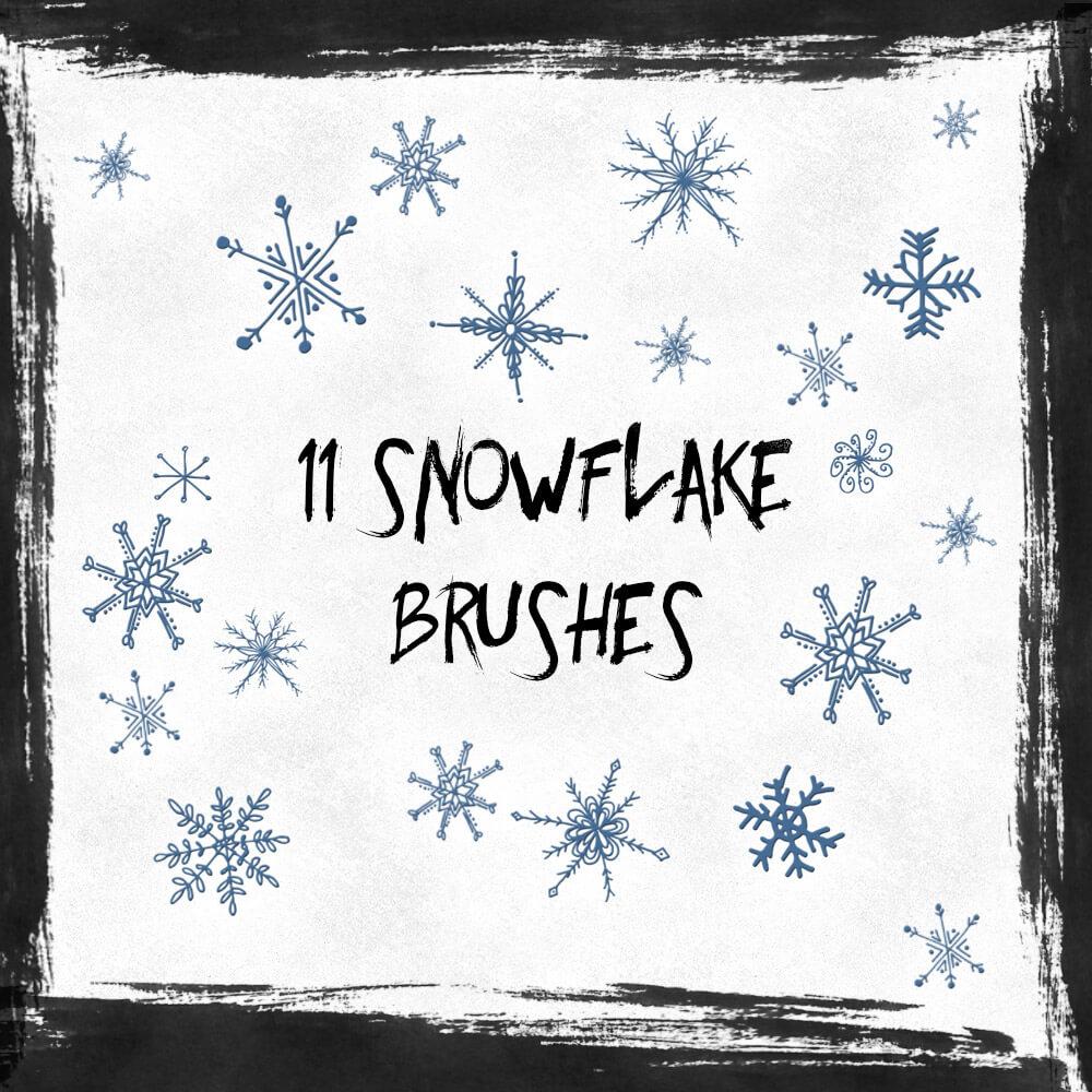 Кисти со снежинками для оформления открыток и коллажей в Фотошопе