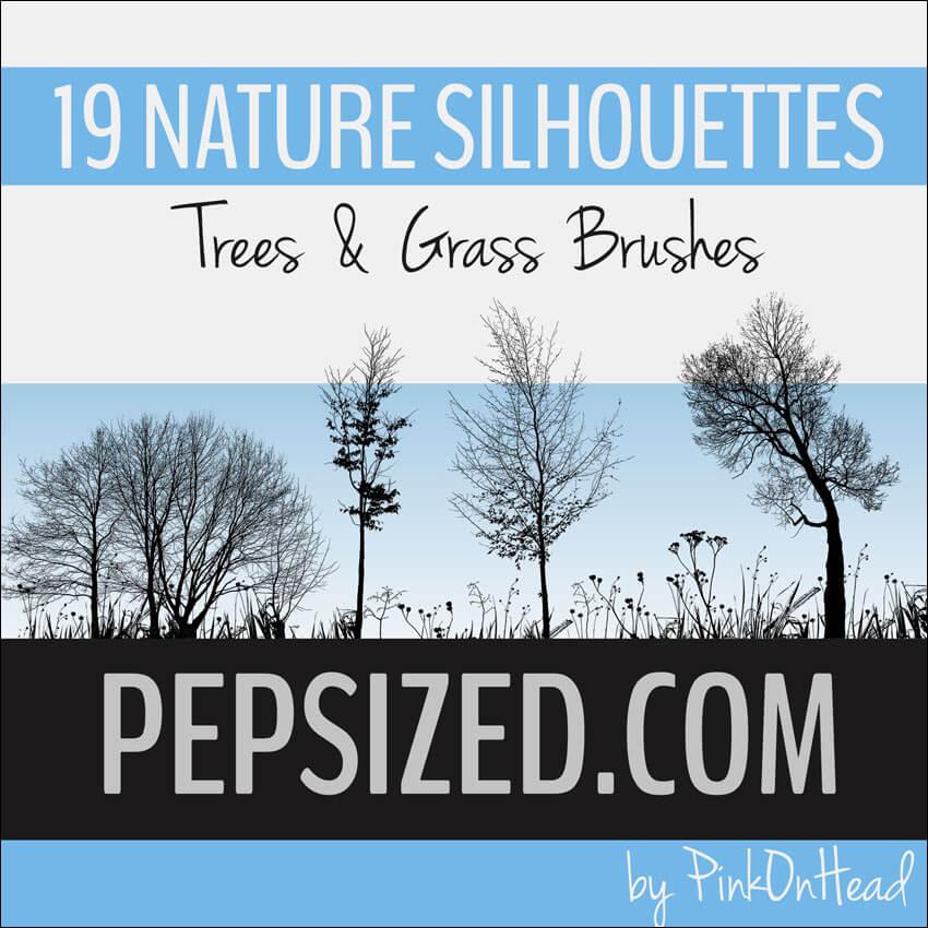 Кисти для рисования силуэтов травы и деревьев в Фотошопе