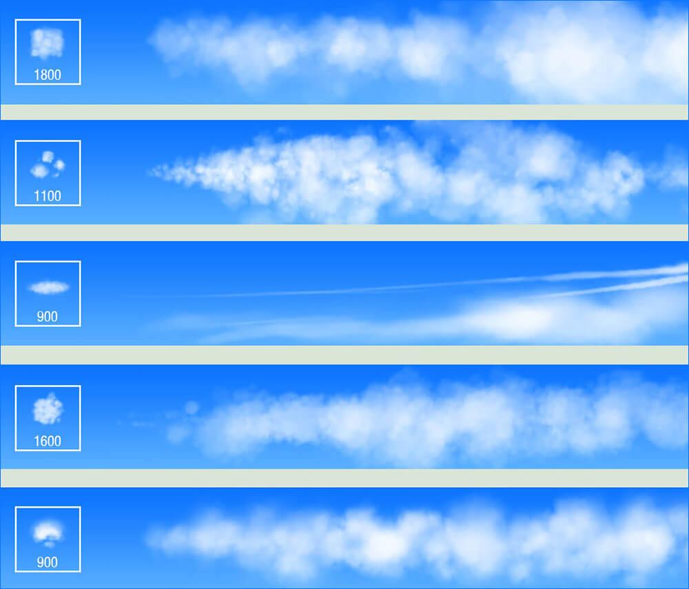 Кисти для рисования воздушных облаков в Фотошопе