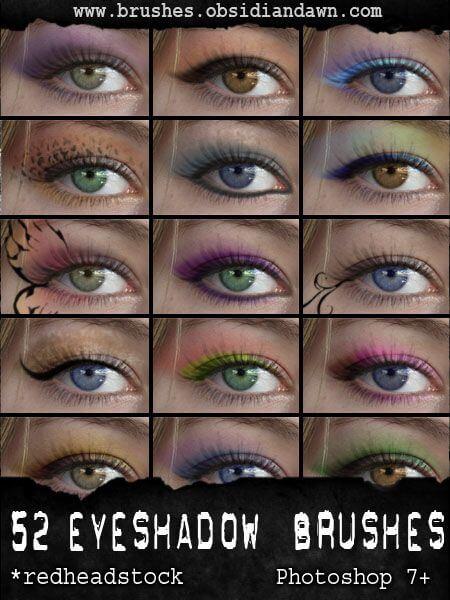 Кисти с различными тенями для глаз для Фотошопа