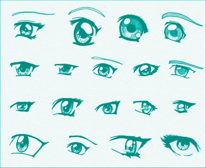 Кисти с глазами в стиле аниме для Фотошопа