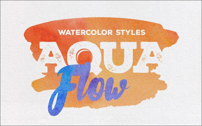 Кисти с акварельными красками Aqua Flow для Фотошопа