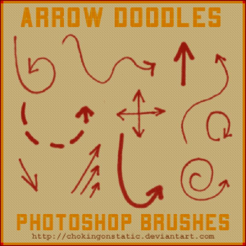 Кисти с игривыми нарисованными стрелками для Фотошопа