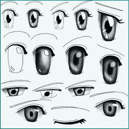 Кисти глазами в стиле аниме для Фотошопа