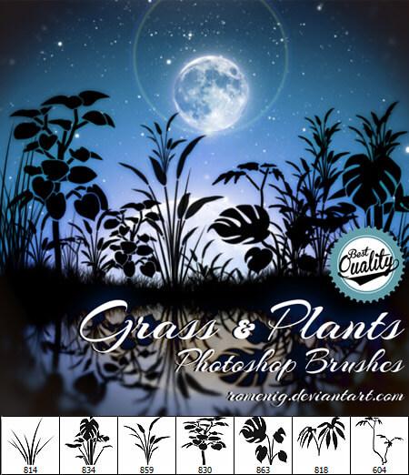 Кисти для рисования силуэтов травы и растений в Фотошопе