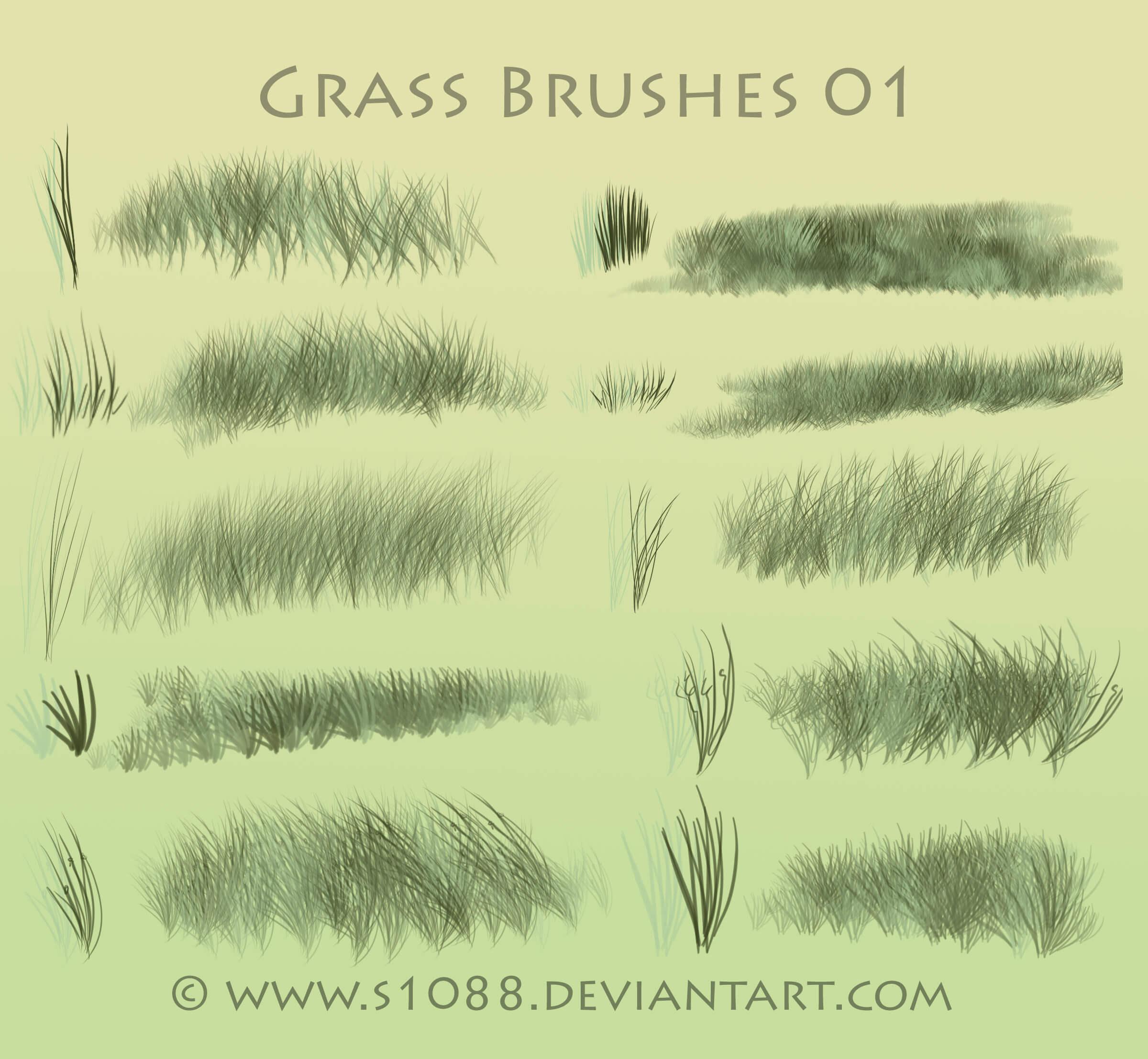 Кисти с травой (от s1088) для Фотошопа