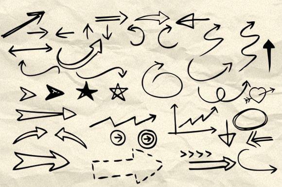 Кисти с рисованными стрелками и символами для Фотошопа