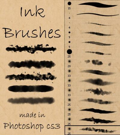 Кисти с акварельными красками и чернилами для Фотошопа
