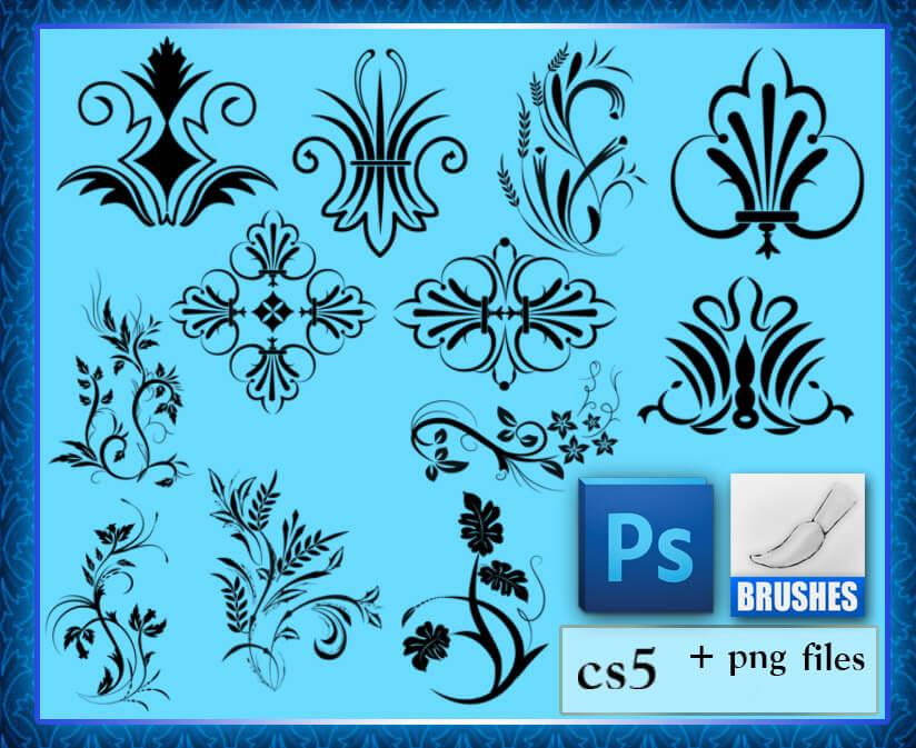 Кисти с цветочными орнаментами для Фотошопа