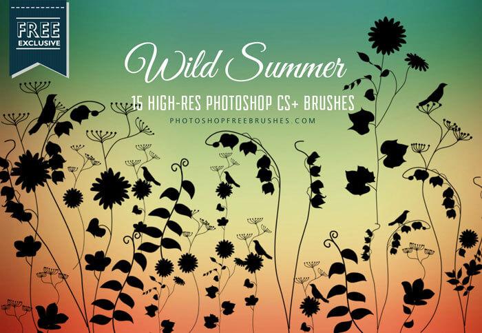 Кисти с летними полевыми цветами для Фотошопа