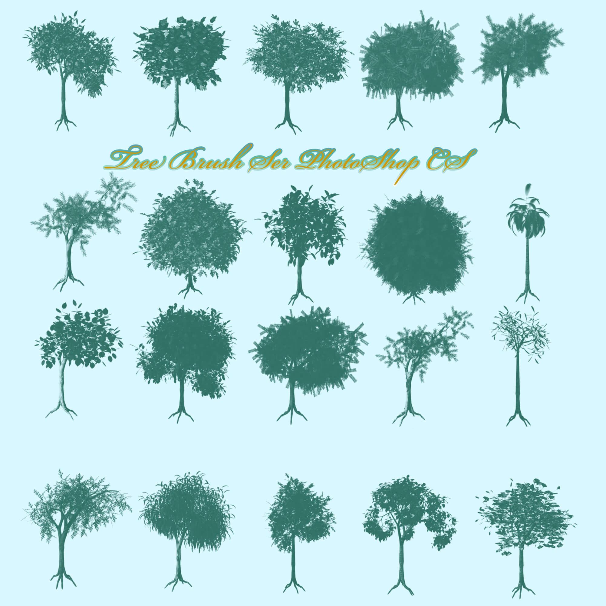 Кисти с различными видами деревьев для Фотошопа