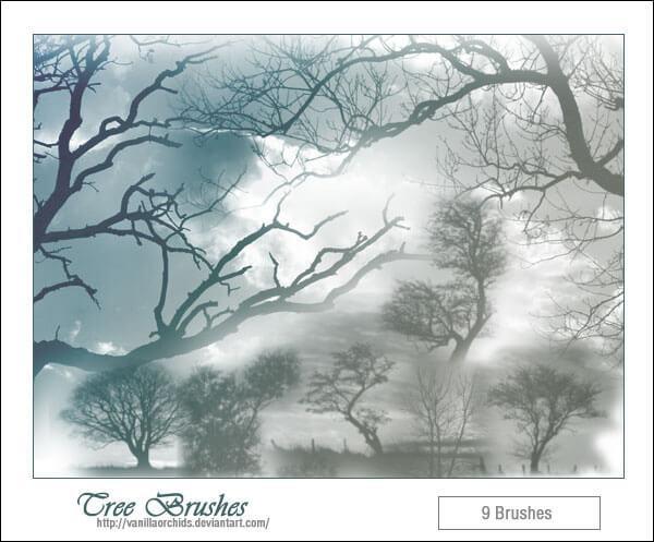 Кисти для рисования пейзажей с деревьями в Фотошопе