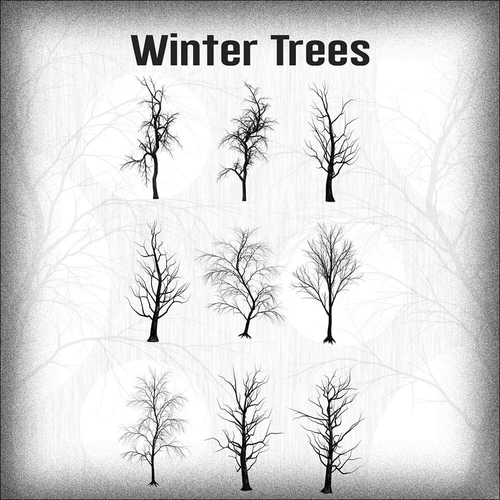 Кисти для рисования зимних деревьев в Фотошопе