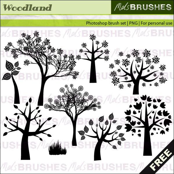 Кисти для рисования сказочных деревьев в Фотошопе