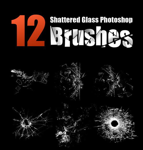 Кисти с осколками разбитого стекла и битыми отверстиями для Фотошопа