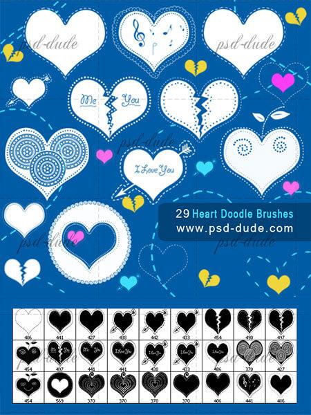 Кисти с сердечками для создания коллажей и открыток в Фотошопе