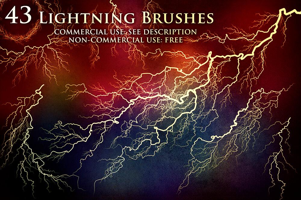 Кисти с ударами молний и электрическими разрядами для Фотошопа