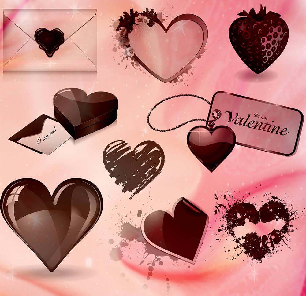 Кисти с сердечками для оформления валентинок в Фотошопе