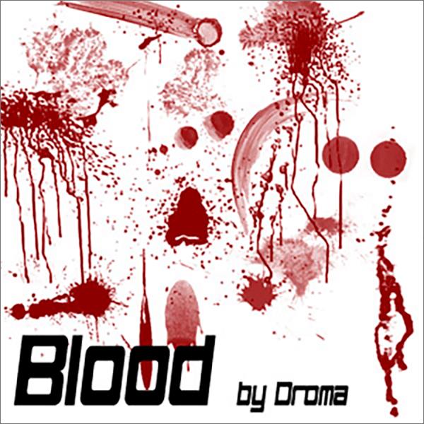 Кисти с пятнами, брызгами и потеками крови для Фотошопа