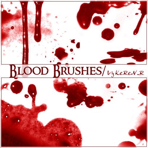 Кисти с кровавыми пятнами для Фотошопа