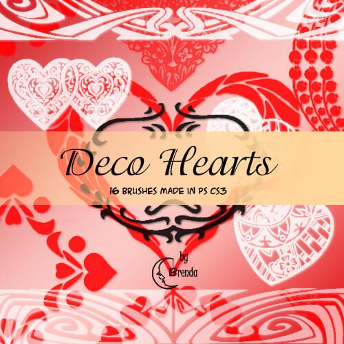 Кисти с декоративными сердечками и узорами для Фотошопа