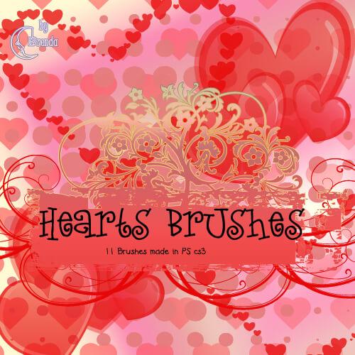 Кисти с красивыми сердечками для Фотошопа