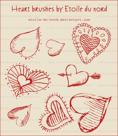 Кисти с декоративными сердечками для Фотошопа