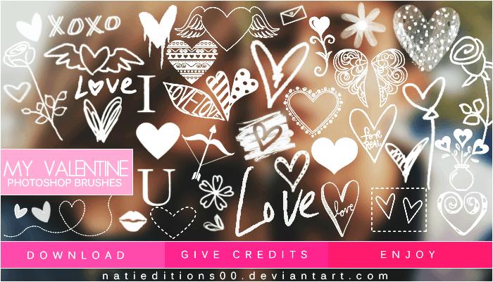 Кисти с сердечками цветочками и надписями для украшения валентинок в Фотошопе