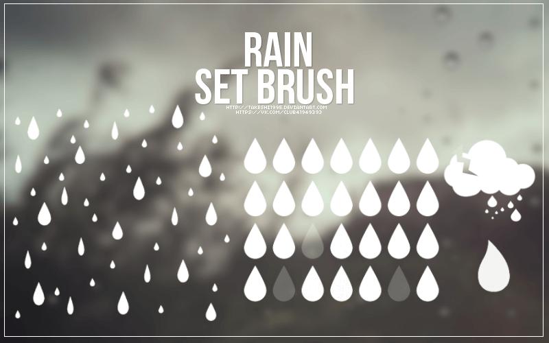 Кисти с нарисованными дождем и каплями для Фотошопа
