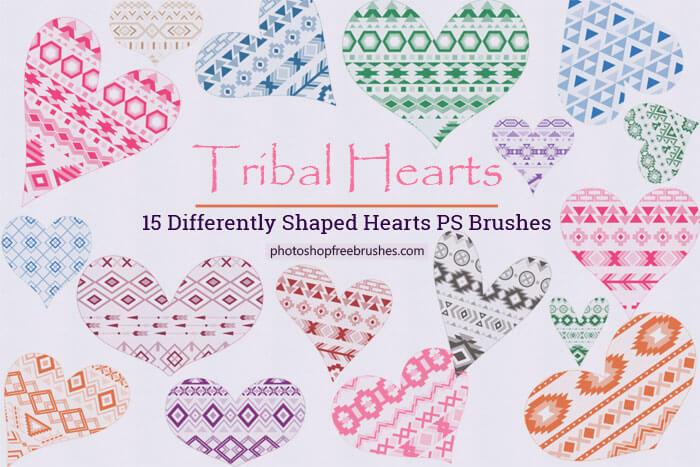 Кисти с сердечками в геометрических узорах для Фотошопа
