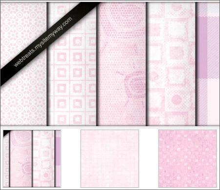 Детские паттерны для создания фонов в розовых тонах в Фотошопе