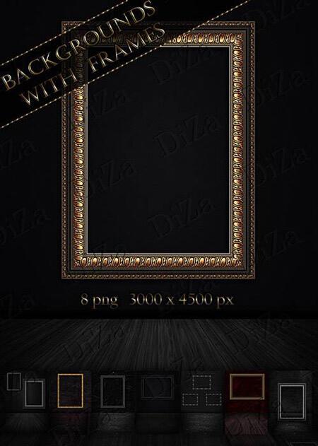 Фоны с рамками для картин на стене для Фотошопа