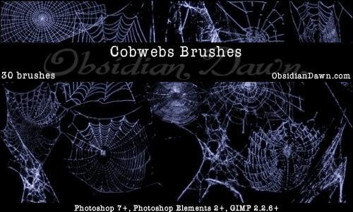 Кисти с паутиной и пауками для Фотошопа
